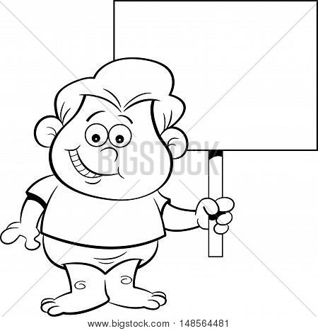Black and white illustration of a baby holding a sign.