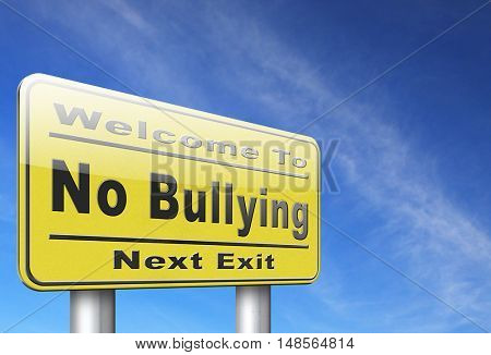 Bully free zone, Stop bullying at school or at work stopping or online. 3D, illustration