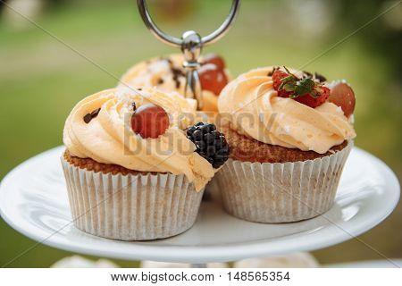 beautiful wedding desserts torus Pancake, cakes on the table