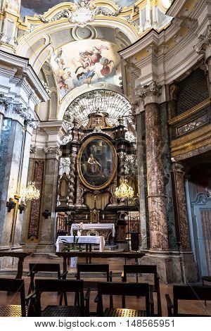 Alba,Italy,Europe - May 3, 2016 : The altar of Santa Maria Maddalena Church in Alba
