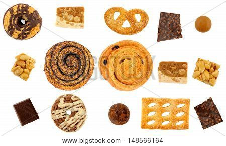 Set Of Sweets: Buns, Cookies, Chocolates. Isolation On White Background
