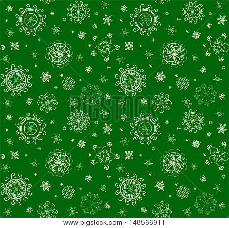 Xmas magical green background with golden lacy decoration