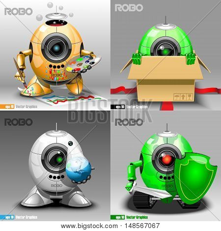 Digital vector robo set, painter, delivery, projector, warrior, orange, green and silver eye borg, 3d style