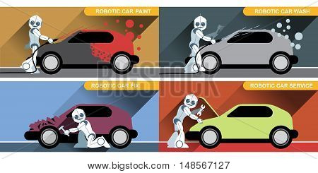 Digital vector silver happy robot set at autoservice fixing cars, painting and washing, flat style