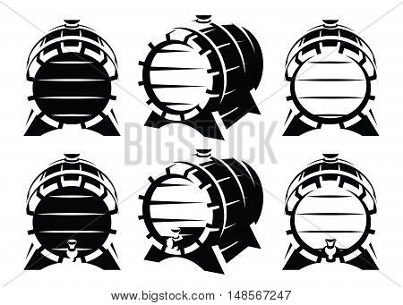 Set of vintage wooden barrels in different foreshortening on white background. Monochrome retro style. Vector illustration.