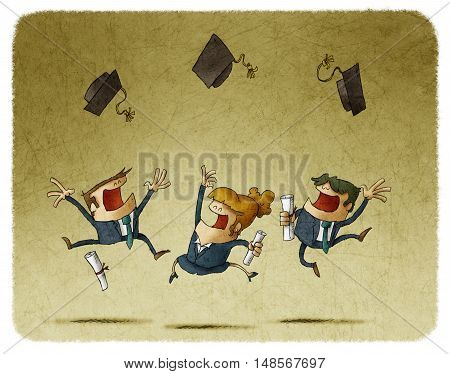 group of male and female alumni in suits with diploma papers in hands jumping and throwing graduating caps in the air.