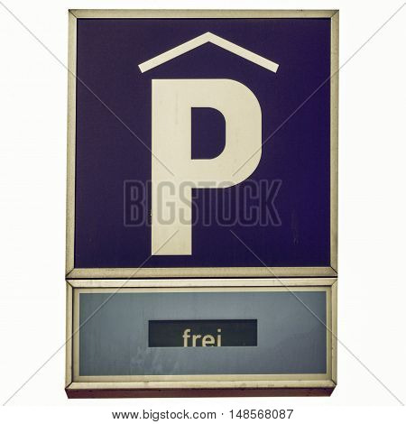Vintage Looking Parking Sign