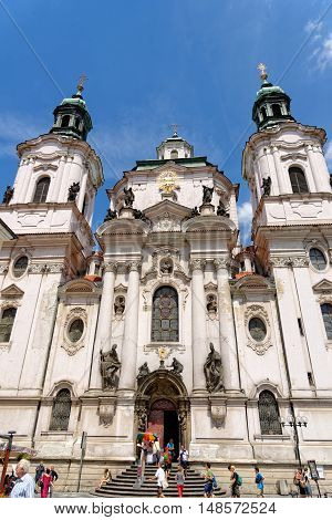 PRAGUE, CZECH REPUBLIC - JULY 3, 2014: St. Nicholas Church in the Old Town Square. It is a baroque church which abounds in best known acoustics in Prague thus becomes a place for classical concerts.