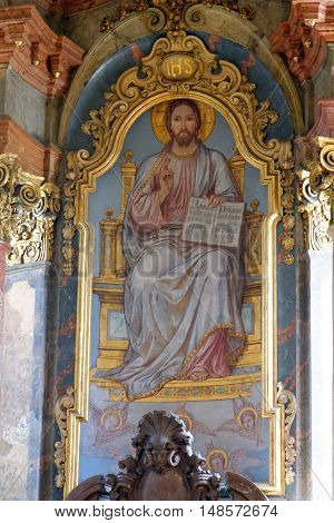 PRAGUE, CZECH REPUBLIC - JULY 3, 2014: The interior of the church of St. Nicholas in Old Town Square. The frescoes are celebrating St. Nicholas and St. Benedict and depicting scenes from old Testament