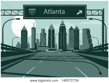 Vector illustration of Atlanta skyline with freeway sign