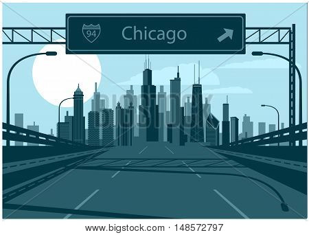Vector illustration of Chicago skyline with freeway sign