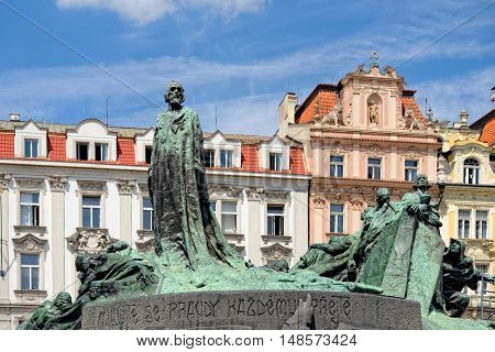 The statue of Jan Hus one of the most important personalities in Czech history in the Old Town Square in Prague. He was burnt as a heretic for reformist ideas.