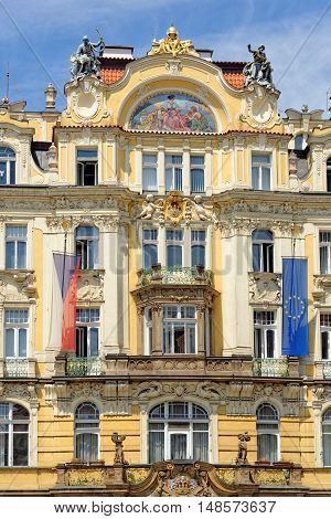 Ministry of Local Development Art Nouveau building located in the Old Town Square in Prague Czech Republic.