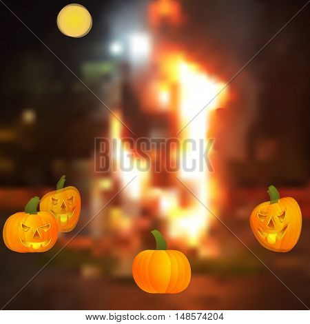 Halloween - the pumpkin around the campfire. Halloween pumpkin - Jack lamp. The ancient Celts and Irish holiday. Vector illustration