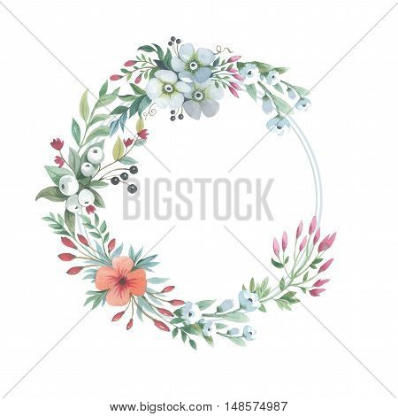 Wildflower lily flower wreath in a watercolor style isolated. Full name of the plant: lily, lilium, lotus, water lily. Aquarelle flower could be used for background, texture, pattern, frame or border.