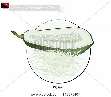 Papua New Guinea Fruit Illustration of Papaya. One of The Most Famous Fruits in Papua New Guinea.