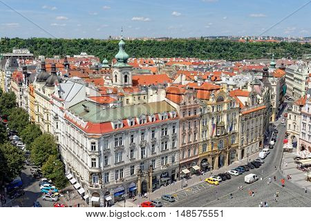 PRAGUE CZECH REPUBLIC - JULY 3 2014: Aerial view: Houses with traditional red roofs in Prague. Prague (Praha) is capital and largest city of Czech Republic and historical capital of Bohemia.