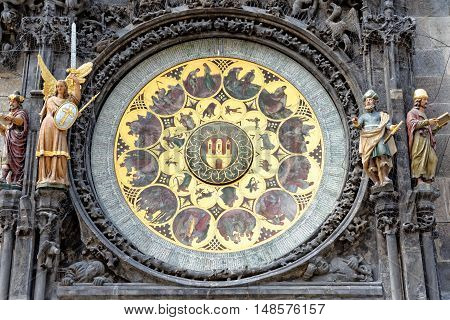 Detail of the Prague Astronomical Clock (Orloj) in the Old Town of Prague Czech Republic.