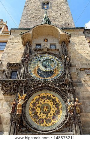 Prague Astronomical Clock (Orloj) in the Old Town of Prague Czech Republic.