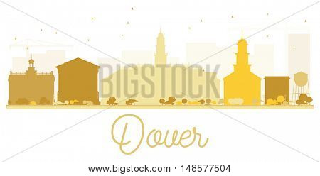 Dover City skyline golden silhouette. Vector illustration. Simple flat concept for tourism presentation, banner, placard or web site. Business travel concept. Cityscape with landmarks