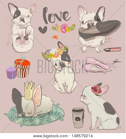 set with little cute bulldogs. vector illustration