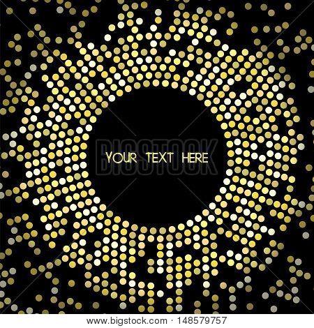 Frame of golden circles on dark background. Vector illustration disco luxury celebrity style