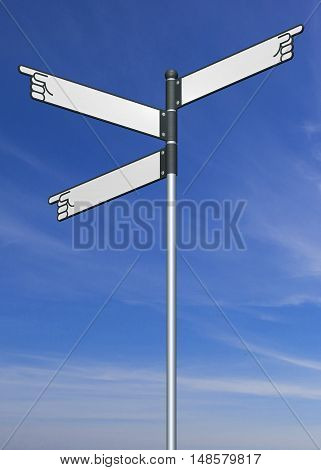 Blank signpost with clipping path 3D sign directional