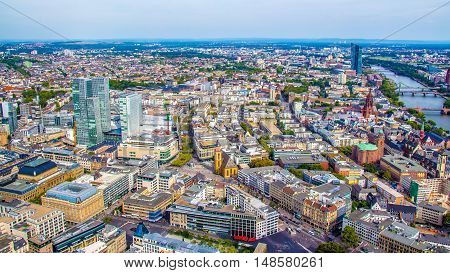 Aerial view of Frankfurt am Main Germany