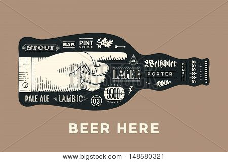 Bottle of beer with hand drawn lettering and text Beer Here for Oktoberfest Beer Festival. Vintage drawing for bar, pub, beer themes. Isolated black bottle of beer with lettering. Vector Illustration
