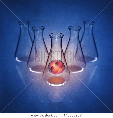 Two-cell embryo in laboratory flask on blue background detailed illustration , Fertizlization , 3d illustration
