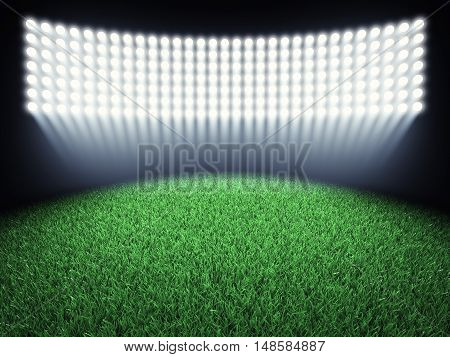 Sports arena spotlights and turf , Stadium , 3d illustration