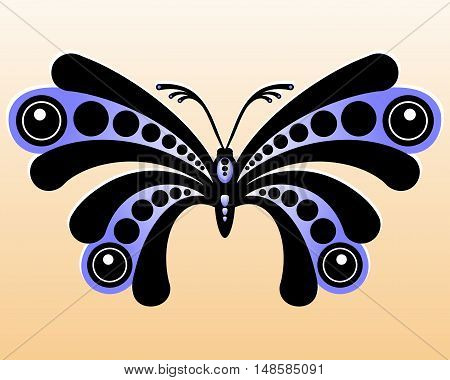 Decorative butterfly. Stylized black and blue butterfly. Vector illustration.