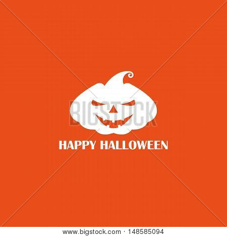 Vector White Pumpkin With Scary Face On An Orange Background, Poster Or Logo For Halloween Holiday