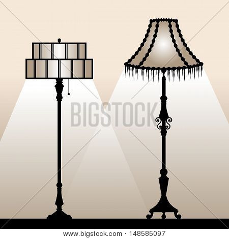 Retro lampshades. Silhouettes of vintage floor lamps. Vector illustration.