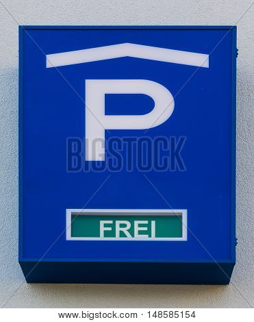 Parking Garage Sign German Language Free Spots Blue Detail Traffic