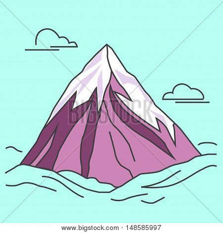 Mountain with clods. Purple mountain with snowy peak. Color outlined illustration. Vector.