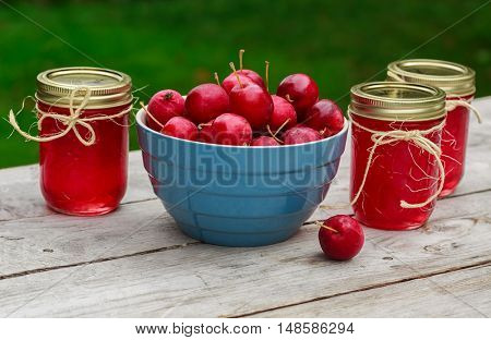 Fresh crabapples and crabapple jelly.