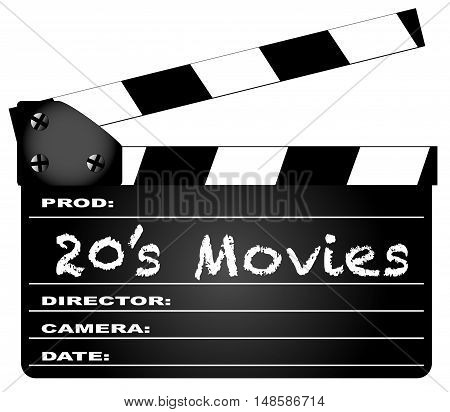 A typical movie clapperboard with the legend 20's Movies isolated on white.
