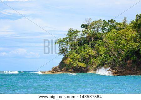 Ocean and forest cliff at Manuel Antonio Costa Rica