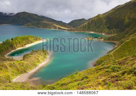 Caldera Lago di Fogo - lake on Sao Miguel Island Azores Portugal