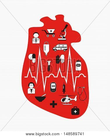 Heart failure. Anatomical red heart with medical icons. A heart attack medical care. Vector design element the concept of intensive care ambulance isolated on white background.