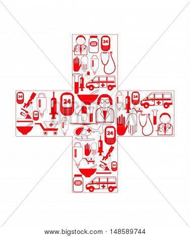 Medical icons in cross shape. Vector set with ambulance doctor nurse pills microscope isolated on white background. Conceptual logo for cover of brochure business cards flyer