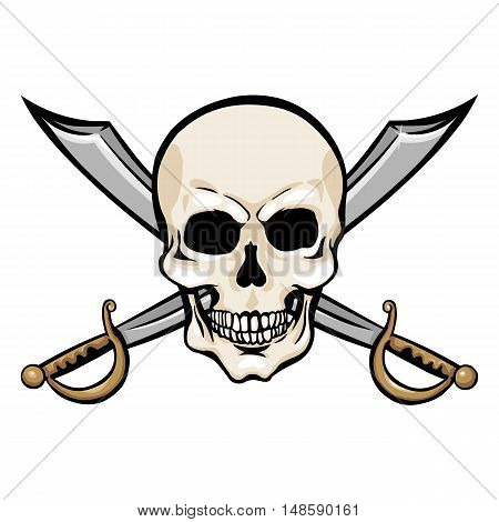 Vector Cartoon Pirate Skull With Cross Swords