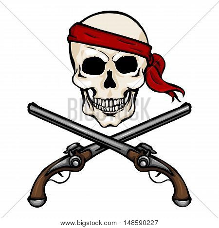 Vector Cartoon Pirate Skull In Red Headband With Cross Pistols