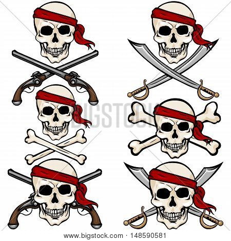 Vector Set Of Cartoon Pirate Skulls In Red Headband