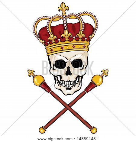 Vector Character - Skull King And Crossed Royal Scepters