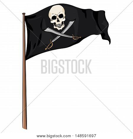 Vector  Cartoon Pirate Flag Fluttering In The Wind