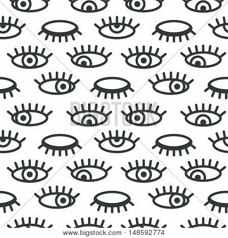 Abstract minimalistic eye vector seamless pattern. Graphic design element for vision eyesight concept with open and closed eyes. Perfect for background backdrop fabric cover with pattern