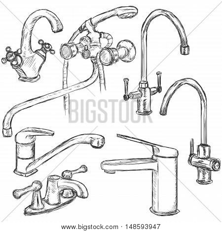 Vector Set Of Sketch Faucets.