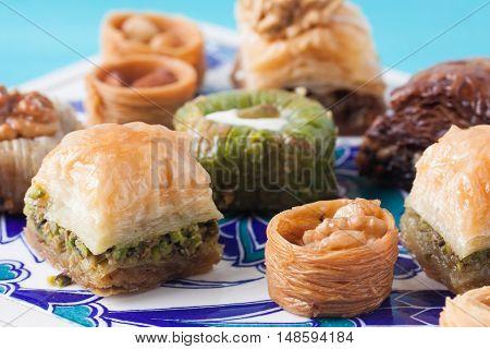 Assorted baklava with pistachio, hazelnut, chocolate, walnut